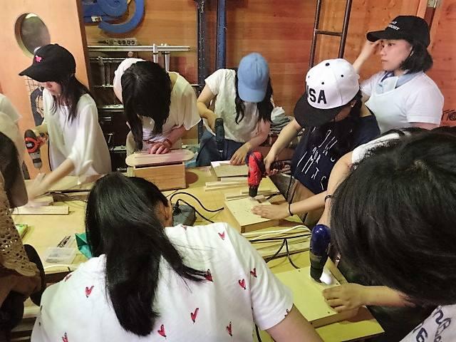 専門学校生への木工教室
